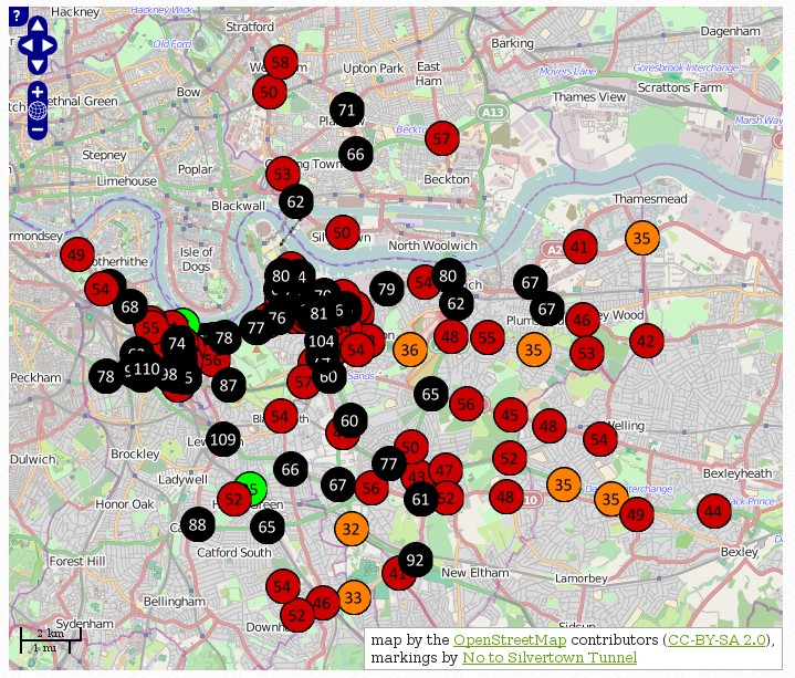 Mapping showing results of pollution monitoring in January/February 2014