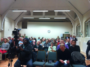 Audience at public meeting called by No to Silvertown Tunnel in Greenwich to announce results of their citizen science project, London October 2013